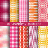 10 seamless patterns for universal background. Endless texture can be used for wallpaper, pattern fill, web page background. Vector illustration for web design Stock Photos