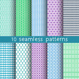 10 seamless patterns for universal background. Endless texture can be used for wallpaper, pattern fill, web page background. Vector illustration for web design Stock Image