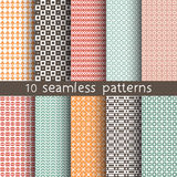 10 seamless patterns for universal background. Endless texture can be used for wallpaper, pattern fill, web page background. Vector illustration for web design Stock Illustration