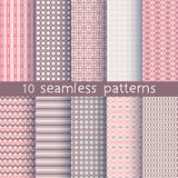 10 seamless patterns for universal background. Endless texture can be used for wallpaper, pattern fill, web page background. Vector illustration for web design Royalty Free Stock Photo