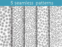 5 seamless patterns for universal background. Endless texture can be used for wallpaper, pattern fill, web page background. Vector illustration for web design royalty free illustration