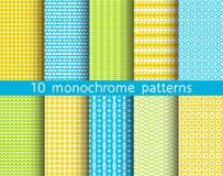 10 seamless patterns for universal background. Endless texture can be used for wallpaper, pattern fill, web page background. Vector illustration for web design Royalty Free Stock Photos