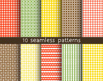 10 seamless patterns for universal background. Endless texture can be used for wallpaper, pattern fill, web page background. Vector illustration for web design Royalty Free Stock Images