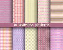 10 seamless patterns for universal background. Endless texture can be used for wallpaper, pattern fill, web page background. Vector illustration for web design Royalty Free Stock Photography