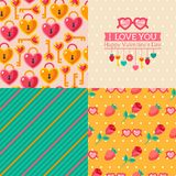 Seamless patterns of Valentine symbols and label I Royalty Free Stock Photography