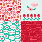 Seamless patterns of Valentine symbols and label I Stock Photography
