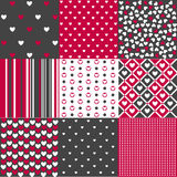 Seamless patterns Valentines Day. Seamless pattern set Valentines Day Royalty Free Stock Photos
