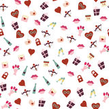 Seamless patterns for Valentines Day sweet kiss, gift box, red heart. Graphic illustration Stock Images