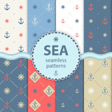 Seamless patterns Vector aqua background Set wallpaper Royalty Free Stock Images