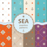 Seamless patterns Vector aqua background Set wallpaper. 10 Wave different seamless patterns Vector illustration for abstract aqua design. Endless texture can be Stock Photos