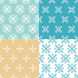 Seamless patterns. Vector set of seamless patterns in trendy mono line style - design elements for florists, spa and cosmetics vector illustration