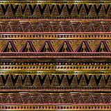 Seamless patterns with white, black, gold, zigzag lines and points Royalty Free Stock Image