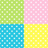 Seamless Patterns, White Polka Dots on red, yellow, blue, green backgrounds. Royalty Free Stock Photography