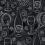 Seamless patterns with white wine set, cask, wineglass, barrel, grape and cheese on black chalkboard. Ideal for printing onto. Fabric and paper or scrap booking vector illustration