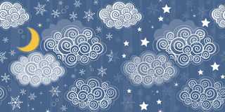 Seamless patterns with winter sky Royalty Free Stock Image