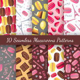 Seamless Patterns With Tasty Macaroons, Eiffel Tower, Paris, Bike And Dots Stock Images