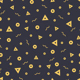 Seamless patterns in yellow colors with geometric elements. Pattern hipster style. Stock Photo