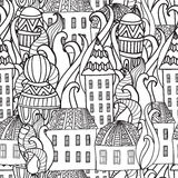 Seamless pattren Magic City. Colorieng book for adults. Magic City. Street background. Ink pen. Black and white seamless pattern in vector. Colorieng book for Royalty Free Stock Photography