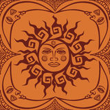 Seamless pattren of tribal sun and crescent moon Royalty Free Stock Photo