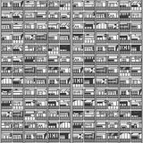 Seamless pattern of residential, commercial office building stock illustration