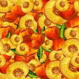 Seamless peach fruit sliced pattern Stock Images