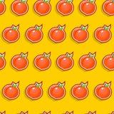 Seamless Peach Pattern. On orange background Royalty Free Stock Image
