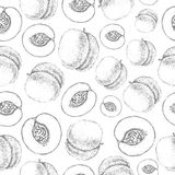 Seamless peach pattern. Fresh fruit sketch Royalty Free Stock Photo
