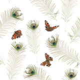 Seamless peacock butterfly pattern. Repeatable background texture with photographed peacock butterflies and feathers, isolated on white Royalty Free Stock Photos