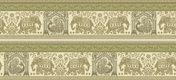 Seamless peacock and elephant border with traditional Asian design elements