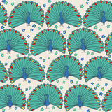 Seamless peacocks. Seamless pattern with peacocks and flowers Royalty Free Stock Images