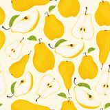 Seamless pear pattern. Different pears whole fruits and pieces with leaves on light yellow background Stock Photography
