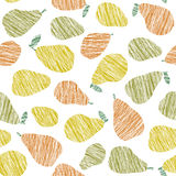 Seamless pear texture. Endless fruit background. Vector. Harvest pattern. Stock Photos