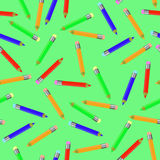 Seamless Pencil Pattern on Green. Stock Photo