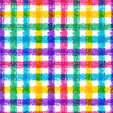 Seamless pencil sketch plaid pattern with colorful stripes. Vect Royalty Free Stock Photos