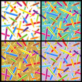 Seamless pencils patterns Royalty Free Stock Image