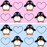 Seamless penguin pattern. For baby girl and baby boy stock illustration