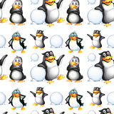 Seamless penguins and snow balls Stock Image