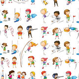 Seamless of people doing activit. Illustration of the seamless design of people doing their indoor and outdoor activities on a white background vector illustration