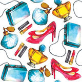 Seamless perfume pattern with shoes, lipstick and bags. Royalty Free Stock Images