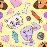 Seamless pets pattern illustration stock illustration