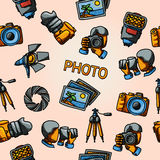 Seamless photography handdrawn pattern with - Royalty Free Stock Photography