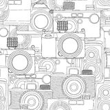 Seamless photography pattern. Seamless photography, vintage camera pattern in black and white Stock Photography