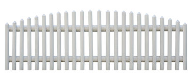 Seamless picket fence cutout. Picket fence isolated on white with clipping path. Object is seamless. Outermost planks are identical, so you can replicate it left stock image