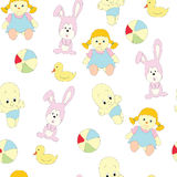 Seamless picture with children`s toys for girls. A vector pattern  on a white background. Royalty Free Stock Image