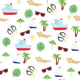 Seamless picture on summer sea subject. A vector pattern  on a white background. Seamless picture on summer sea subject. A vector pattern with the ship, slaps Stock Photography
