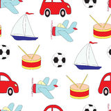 Seamless picture with toys for children with car, plane, the ship, a drum and a soccerball. A vector pattern. Stock Images