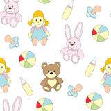 Seamless picture with toys for children. A vector pattern with a doll, a baby`s dummy, a pacifier, a ball, a hare, a bear . Seamless picture with toys for Royalty Free Stock Images