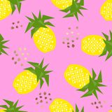 Seamless pineapple geometric pattern, vector illustration. Stock Image