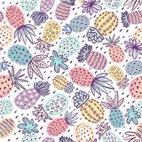 Seamless pineapple pattern. Handdrawn Pinapple with different textures in pastel colors. Exotic fruits background For. Fashion print, textile, fabric, covers vector illustration