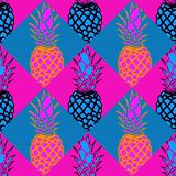 Seamless Pineapple Pattern In Pink And Blue royalty free stock images